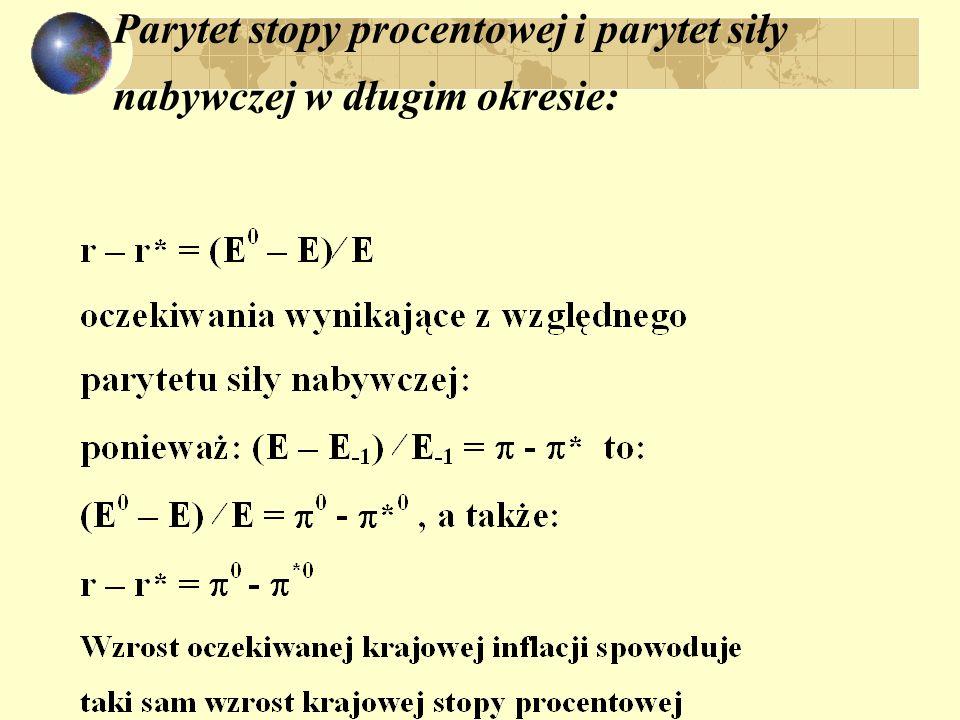 zmiany wielkości makroekonomicznych i stałe kursy : F* = E P* L(r,Y) – A zmianawpływ na F* wzrost (spadek) A - (+) wzrost (spadek) Y+ (-) wzrost (spad
