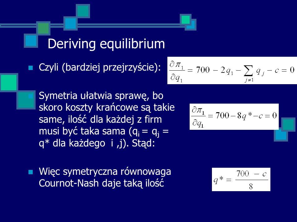 Deriving equilibrium Czyli (bardziej przejrzyście): Symetria ułatwia sprawę, bo skoro koszty krańcowe są takie same, ilość dla każdej z firm musi być