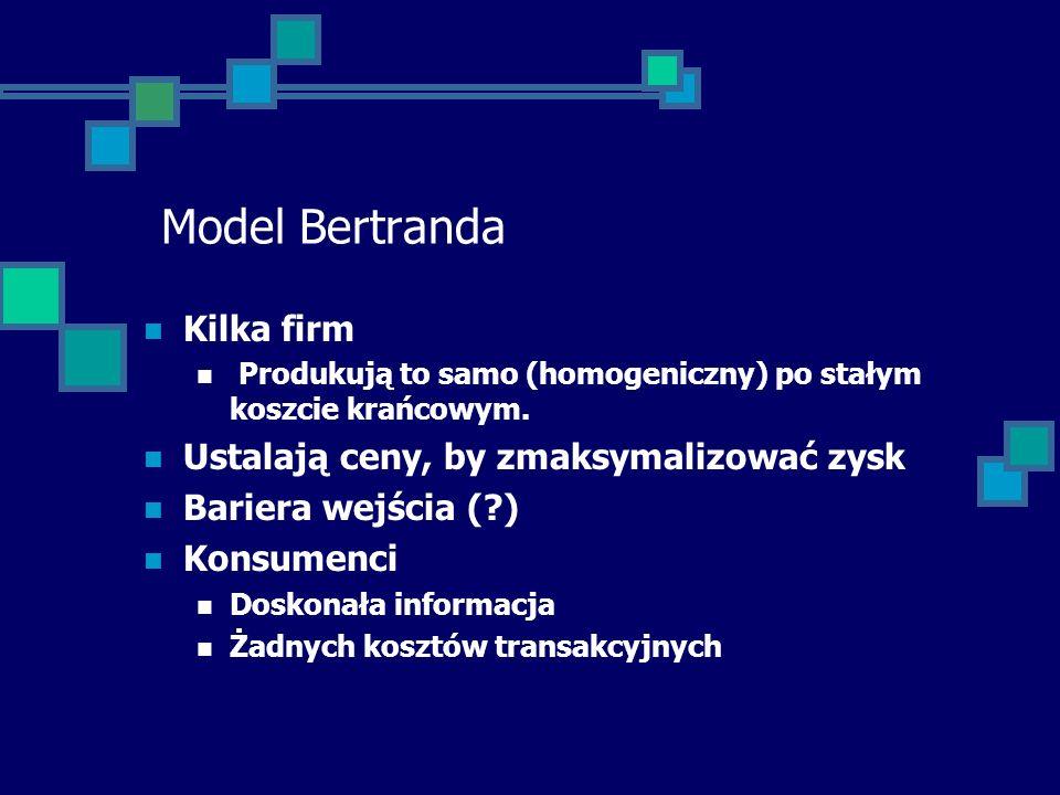 Model Bertranda Kilka firm Produkują to samo (homogeniczny) po stałym koszcie krańcowym. Ustalają ceny, by zmaksymalizować zysk Bariera wejścia (?) Ko