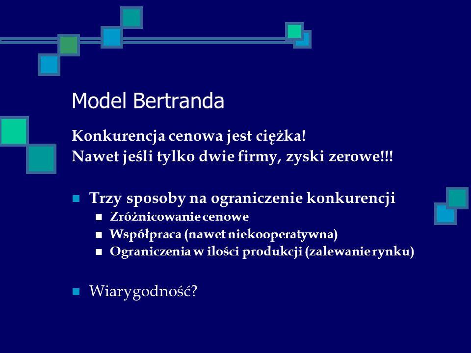 Model Bertranda Konkurencja cenowa jest ciężka! Nawet jeśli tylko dwie firmy, zyski zerowe!!! Trzy sposoby na ograniczenie konkurencji Zróżnicowanie c