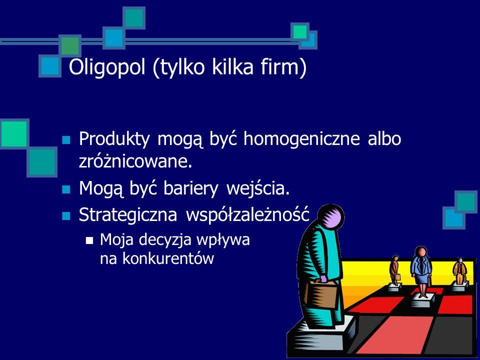 Oligopol (tylko kilka firm) Produkty mogą być homogeniczne albo zróżnicowane. Mogą być bariery wejścia. Strategiczna współzależność Moja decyzja wpływ