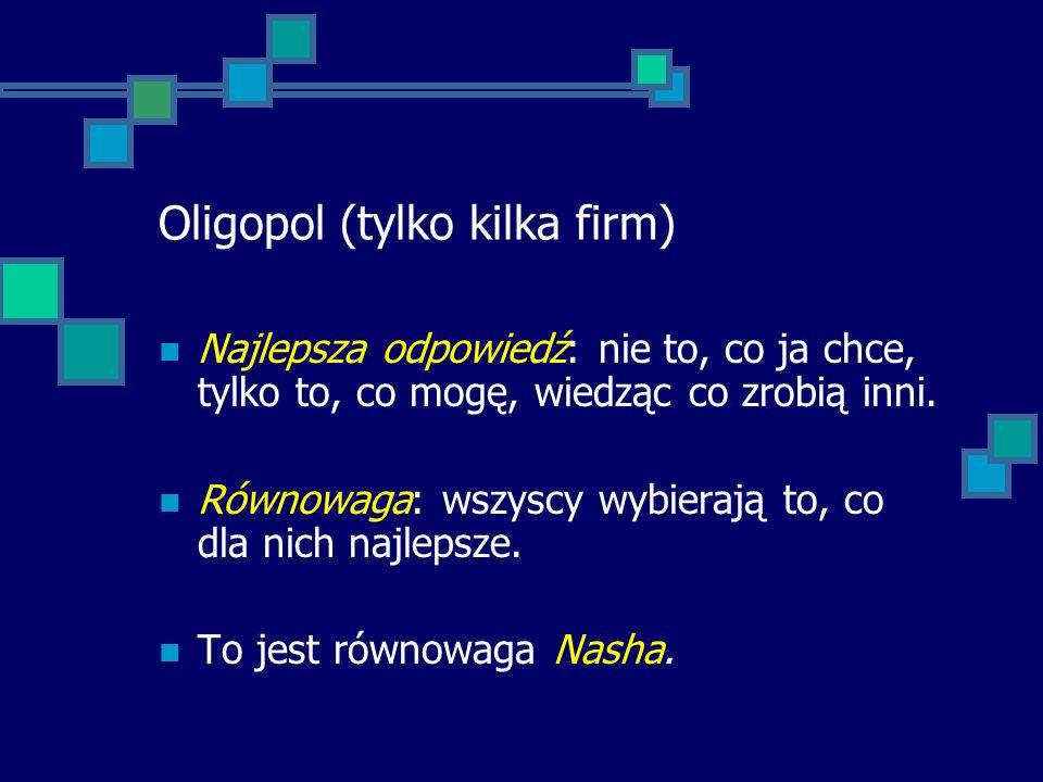 Oligopol (tylko kilka firm) Najlepsza odpowiedź: nie to, co ja chce, tylko to, co mogę, wiedząc co zrobią inni. Równowaga: wszyscy wybierają to, co dl