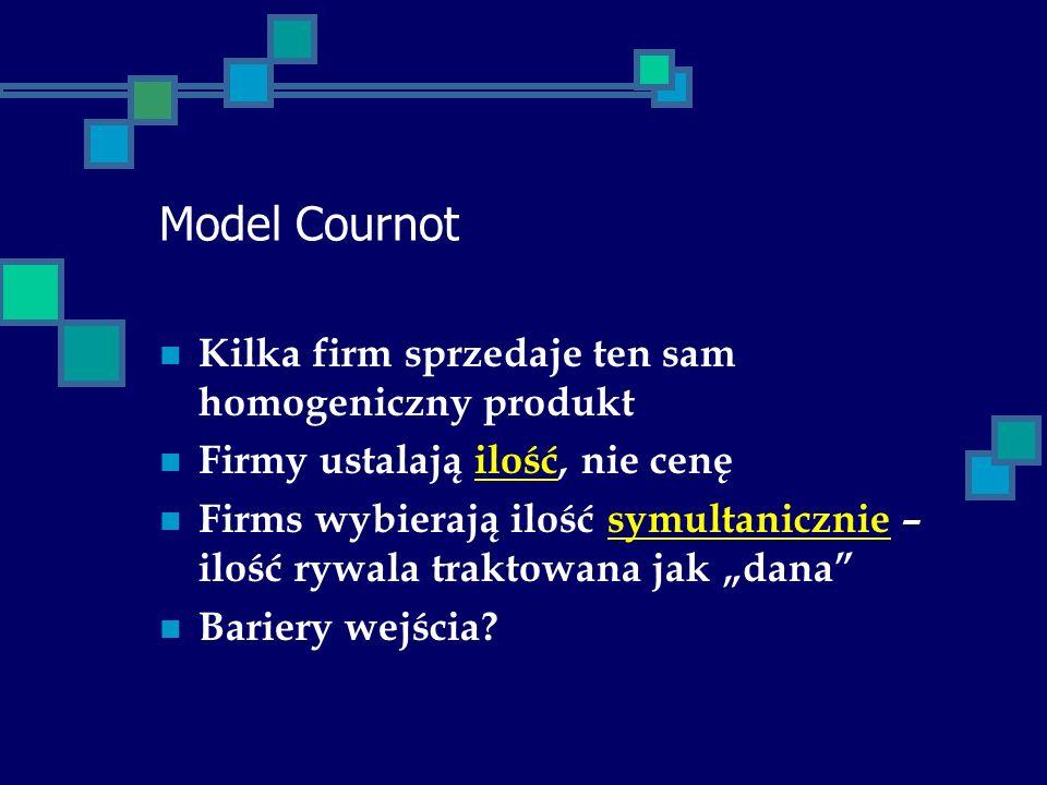 Model Cournot Kilka firm sprzedaje ten sam homogeniczny produkt Firmy ustalają ilość, nie cenę Firms wybierają ilość symultanicznie – ilość rywala tra