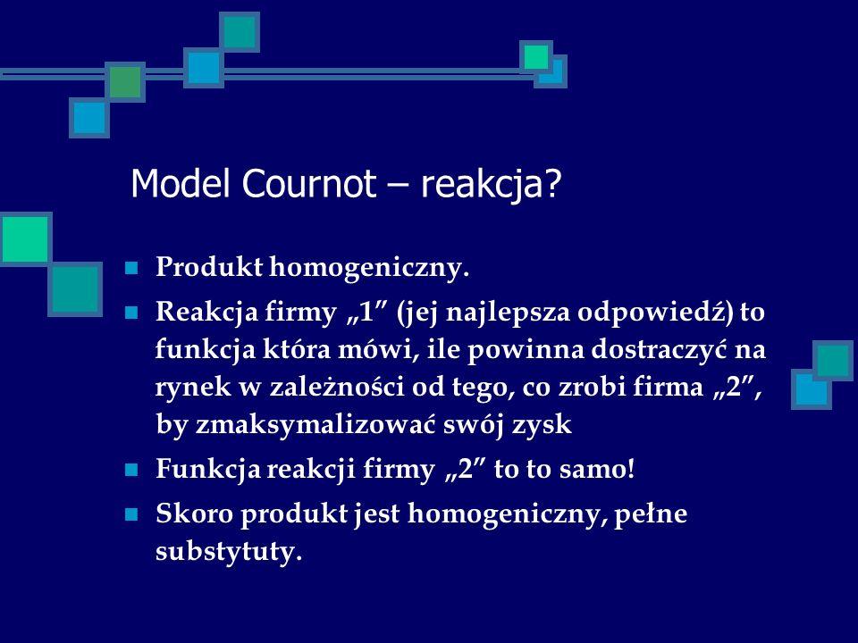 Model Cournot – reakcja? Produkt homogeniczny. Reakcja firmy 1 (jej najlepsza odpowiedź) to funkcja która mówi, ile powinna dostraczyć na rynek w zale