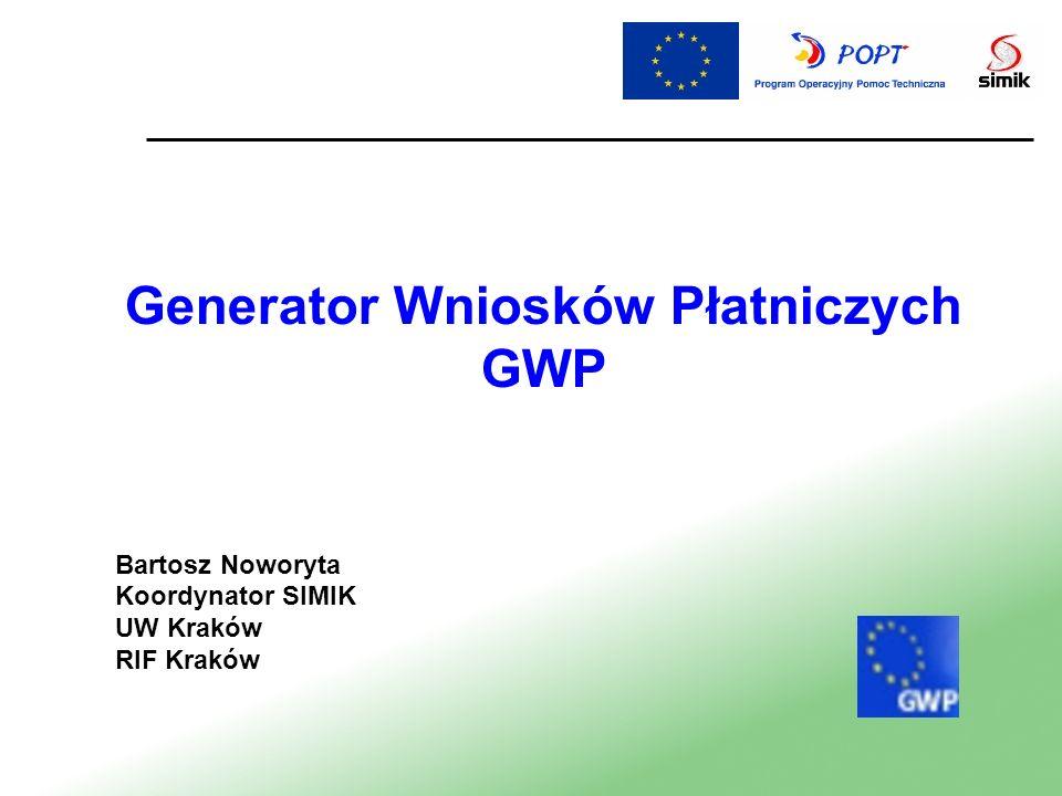 Menu Aplikacji Zapis zmiany danych Export Wniosku z GWP w formacie xml Walidacja pozwala na sprawdzenie poprawności wprowadzonych danych Drukowanie wniosku Instrukcja wypełniania wniosku płatniczego Zamyka edytor Wniosków