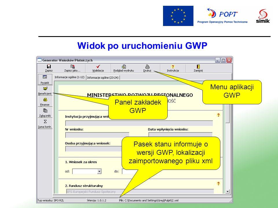 Menu aplikacji GWP Panel zakładek GWP Pasek stanu informuje o wersji GWP, lokalizacji zaimportowanego pliku xml Widok po uruchomieniu GWP