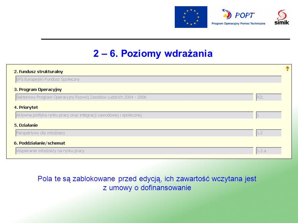 2 – 6. Poziomy wdrażania Pola te są zablokowane przed edycją, ich zawartość wczytana jest z umowy o dofinansowanie