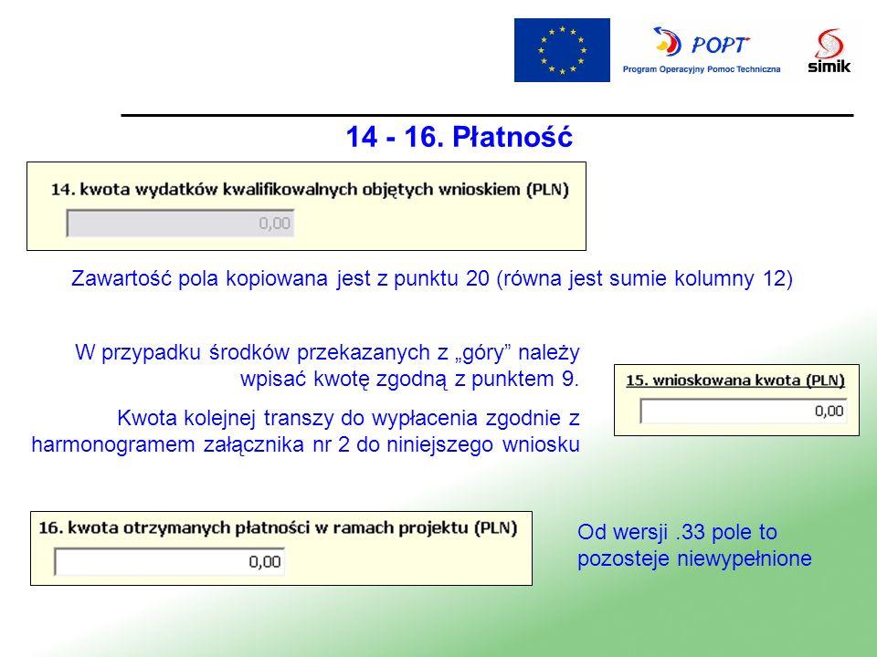 14 - 16. Płatność Zawartość pola kopiowana jest z punktu 20 (równa jest sumie kolumny 12) W przypadku środków przekazanych z góry należy wpisać kwotę