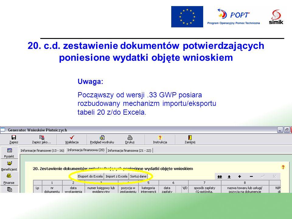 20. c.d. zestawienie dokumentów potwierdzających poniesione wydatki objęte wnioskiem Uwaga: Począwszy od wersji.33 GWP posiara rozbudowany mechanizm i