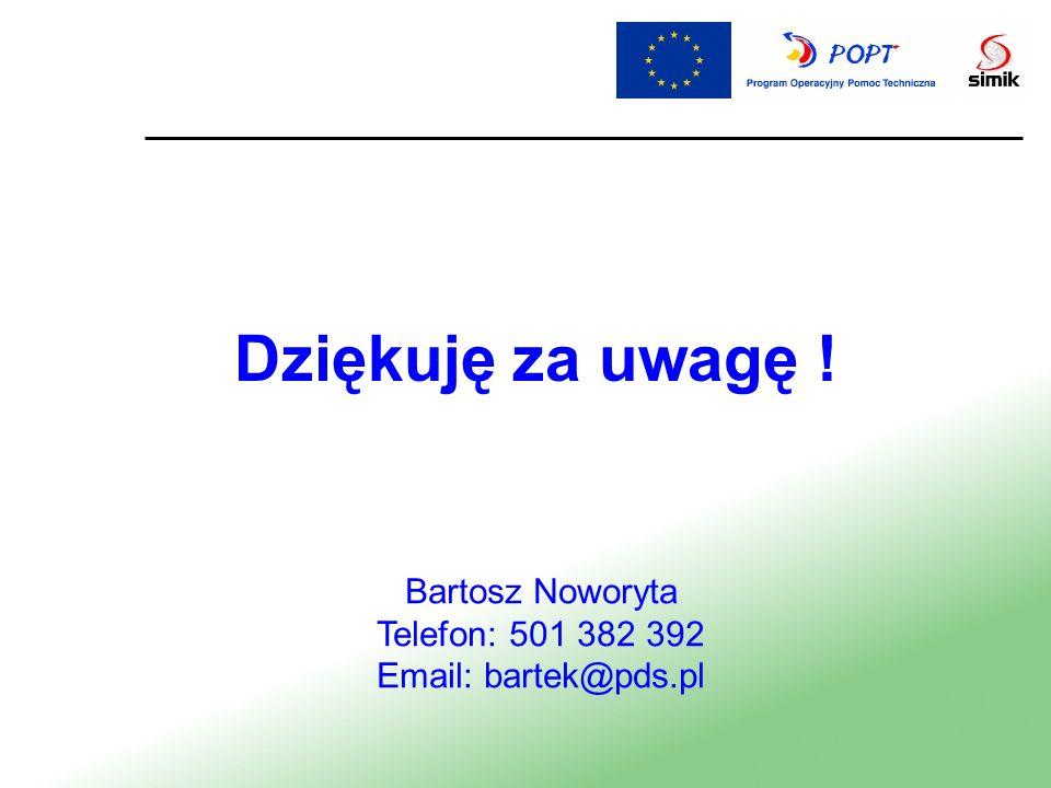 Dziękuję za uwagę ! Bartosz Noworyta Telefon: 501 382 392 Email: bartek@pds.pl