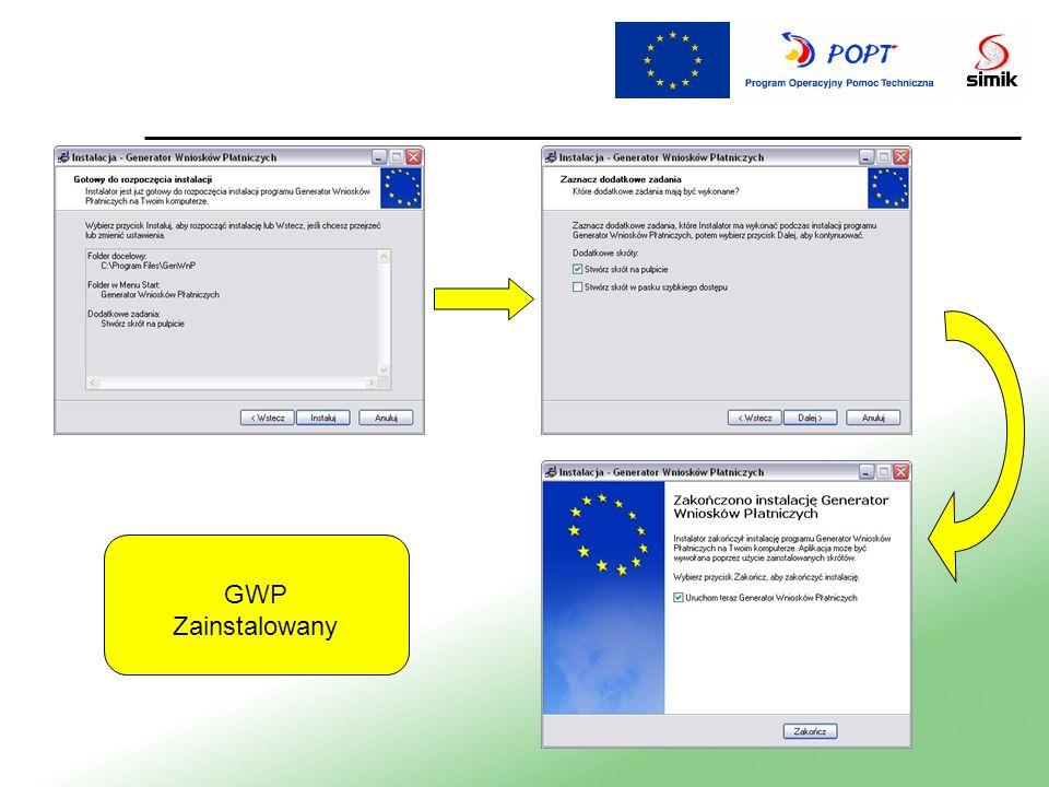 Po poprawnym zainstalowaniu GWP na pulpicie pojawia się skrót do aplikacji Przycisk Nowy wniosek używamy do importu (wczytania) umowy o dofinansowanie - pliku xml otrzymanego od WUP Przycisk Wczytaj wniosek używamy do importu (wczytania) utworzonego już w GWP wniosku płatniczego