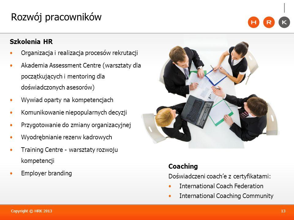 Rozwój pracowników Szkolenia HR Organizacja i realizacja procesów rekrutacji Akademia Assessment Centre (warsztaty dla początkujących i mentoring dla