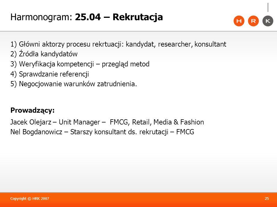 1) Główni aktorzy procesu rekrtuacji: kandydat, researcher, konsultant 2) Źródła kandydatów 3) Weryfikacja kompetencji – przegląd metod 4) Sprawdzanie