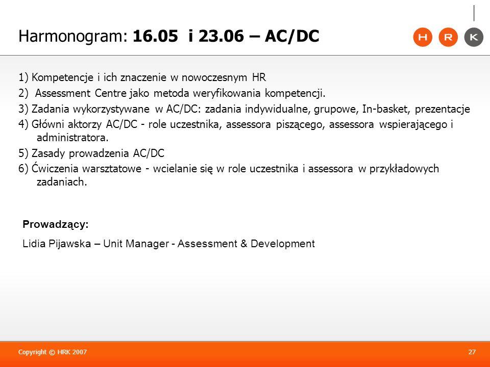 1) Kompetencje i ich znaczenie w nowoczesnym HR 2) Assessment Centre jako metoda weryfikowania kompetencji. 3) Zadania wykorzystywane w AC/DC: zadania