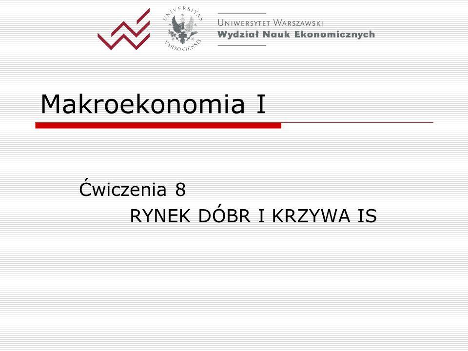 Katedra Makroekonomii WNE UW2 Model ISLM: podstawa analizy krótkookresowej - cz.