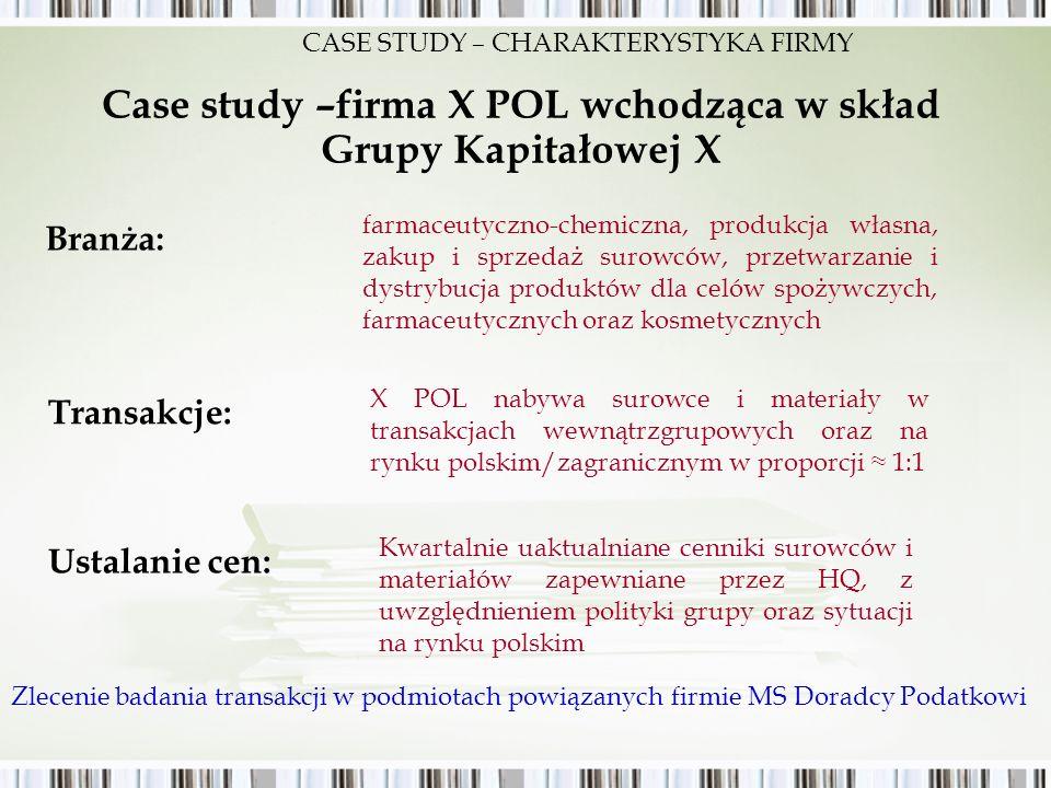 Case study –firma X POL wchodząca w skład Grupy Kapitałowej X farmaceutyczno-chemiczna, produkcja własna, zakup i sprzedaż surowców, przetwarzanie i d