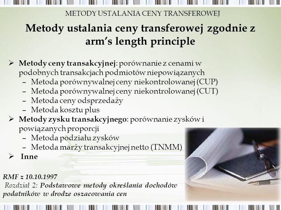 Metody ustalania ceny transferowej zgodnie z arms length principle Metody ceny transakcyjnej : porównanie z cenami w podobnych transakcjach podmiotów