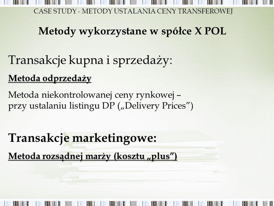 Metody wykorzystane w spółce X POL Transakcje kupna i sprzedaży: Metoda odprzedaży Metoda niekontrolowanej ceny rynkowej – przy ustalaniu listingu DP