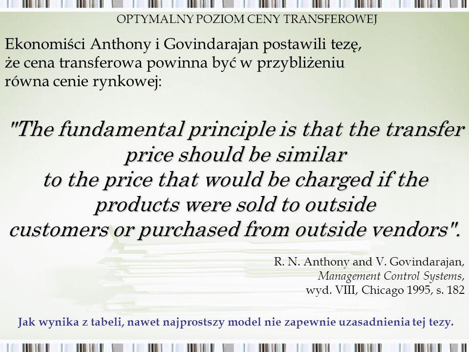 Ekonomiści Anthony i Govindarajan postawili tezę, że cena transferowa powinna być w przybliżeniu równa cenie rynkowej: