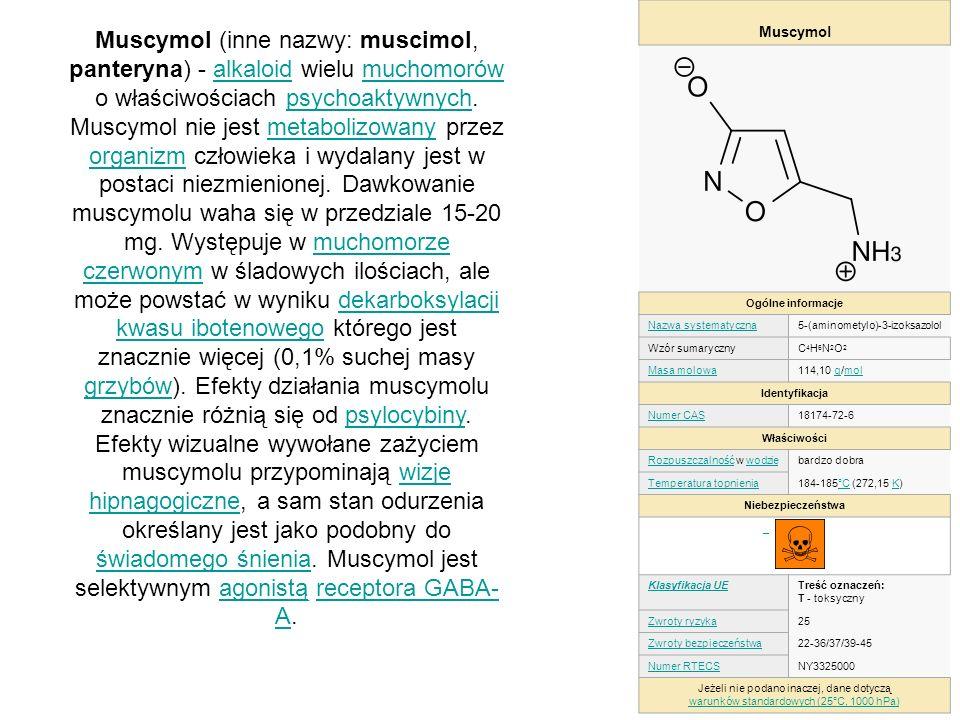 Muscymol (inne nazwy: muscimol, panteryna) - alkaloid wielu muchomorów o właściwościach psychoaktywnych. Muscymol nie jest metabolizowany przez organi