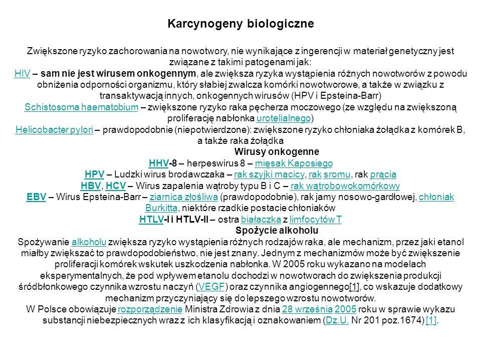 Karcynogeny biologiczne Zwiększone ryzyko zachorowania na nowotwory, nie wynikające z ingerencji w materiał genetyczny jest związane z takimi patogena