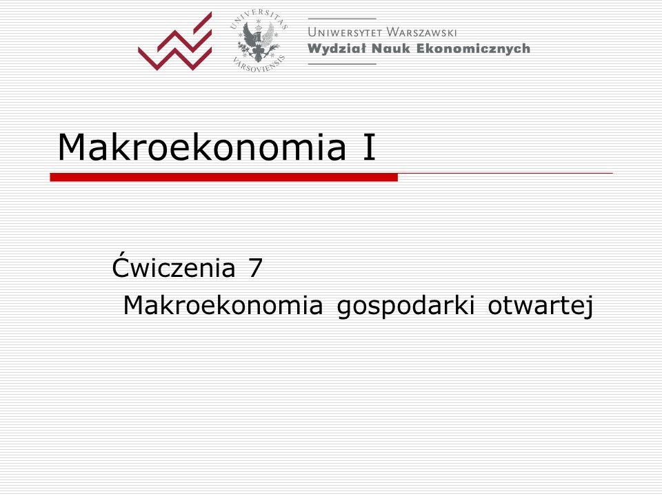 Makroekonomia I Ćwiczenia 7 Makroekonomia gospodarki otwartej
