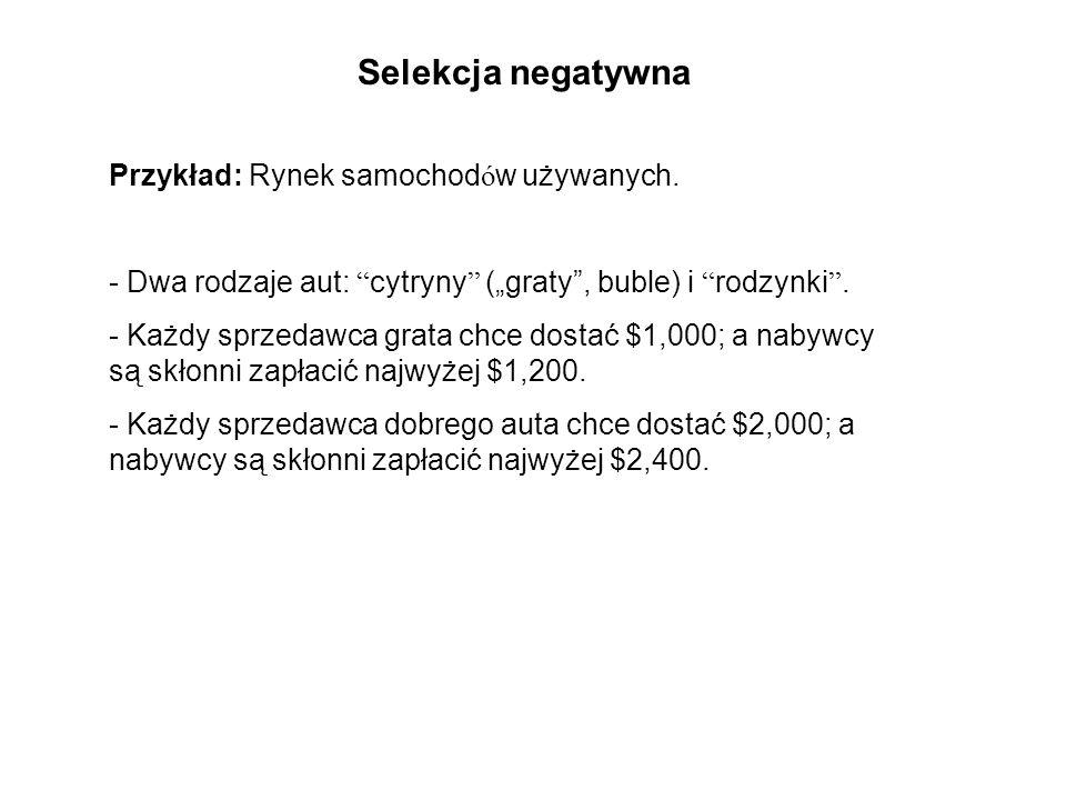 Przykład: Rynek samochod ó w używanych. - Dwa rodzaje aut: cytryny (graty, buble) i rodzynki. - Każdy sprzedawca grata chce dostać $1,000; a nabywcy s