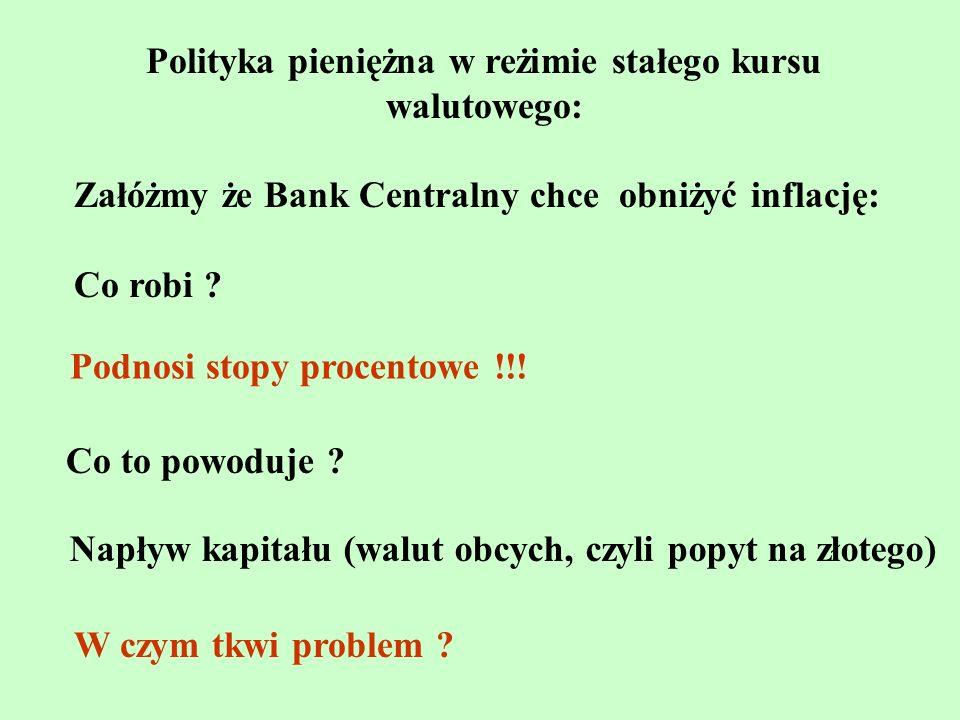 Polityka pieniężna w reżimie stałego kursu walutowego: Załóżmy że Bank Centralny chce obniżyć inflację: Co robi ? Podnosi stopy procentowe !!! Co to p