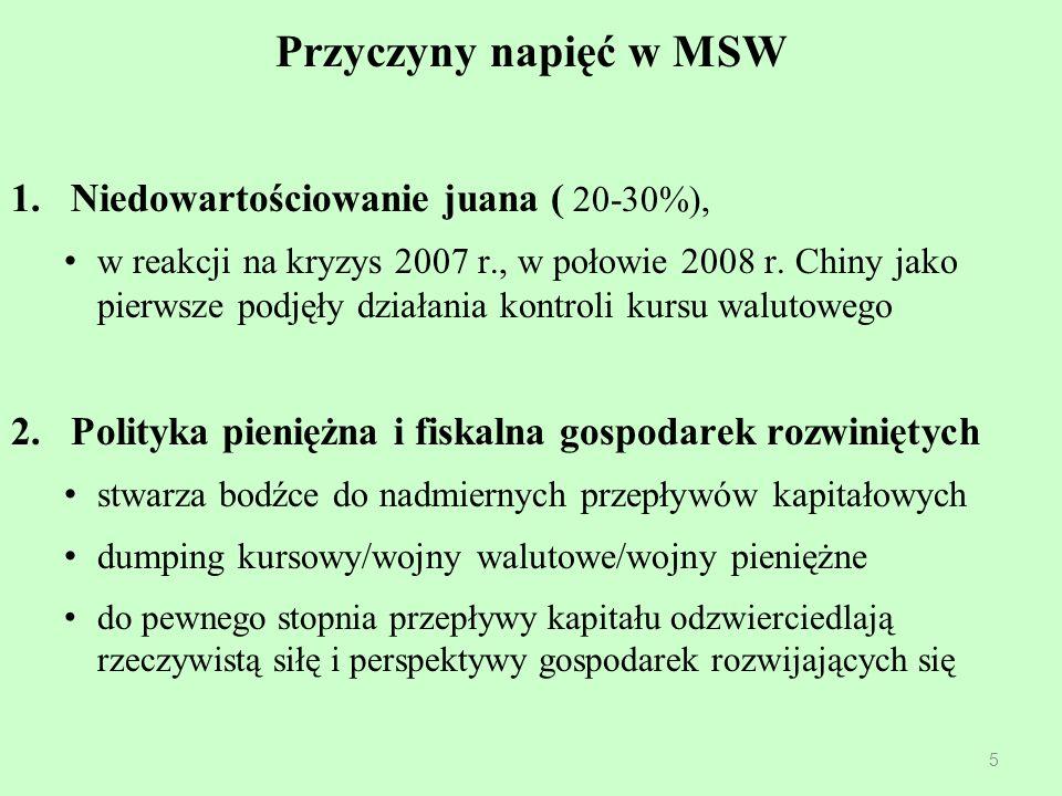 Przyczyny napięć w MSW 1.Niedowartościowanie juana ( 20-30%), w reakcji na kryzys 2007 r., w połowie 2008 r. Chiny jako pierwsze podjęły działania kon