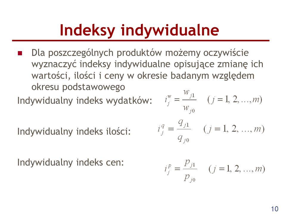 10 Indeksy indywidualne Dla poszczególnych produktów możemy oczywiście wyznaczyć indeksy indywidualne opisujące zmianę ich wartości, ilości i ceny w o