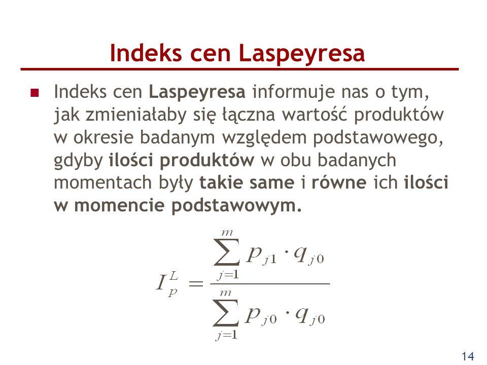 14 Indeks cen Laspeyresa Indeks cen Laspeyresa informuje nas o tym, jak zmieniałaby się łączna wartość produktów w okresie badanym względem podstawowe