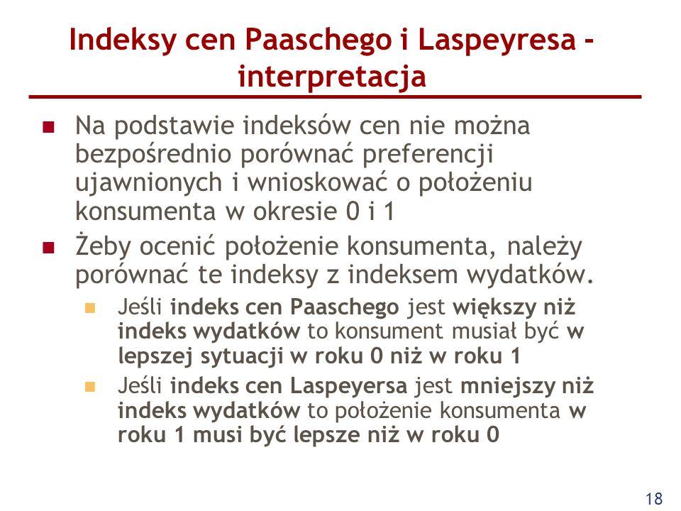 18 Indeksy cen Paaschego i Laspeyresa - interpretacja Na podstawie indeksów cen nie można bezpośrednio porównać preferencji ujawnionych i wnioskować o
