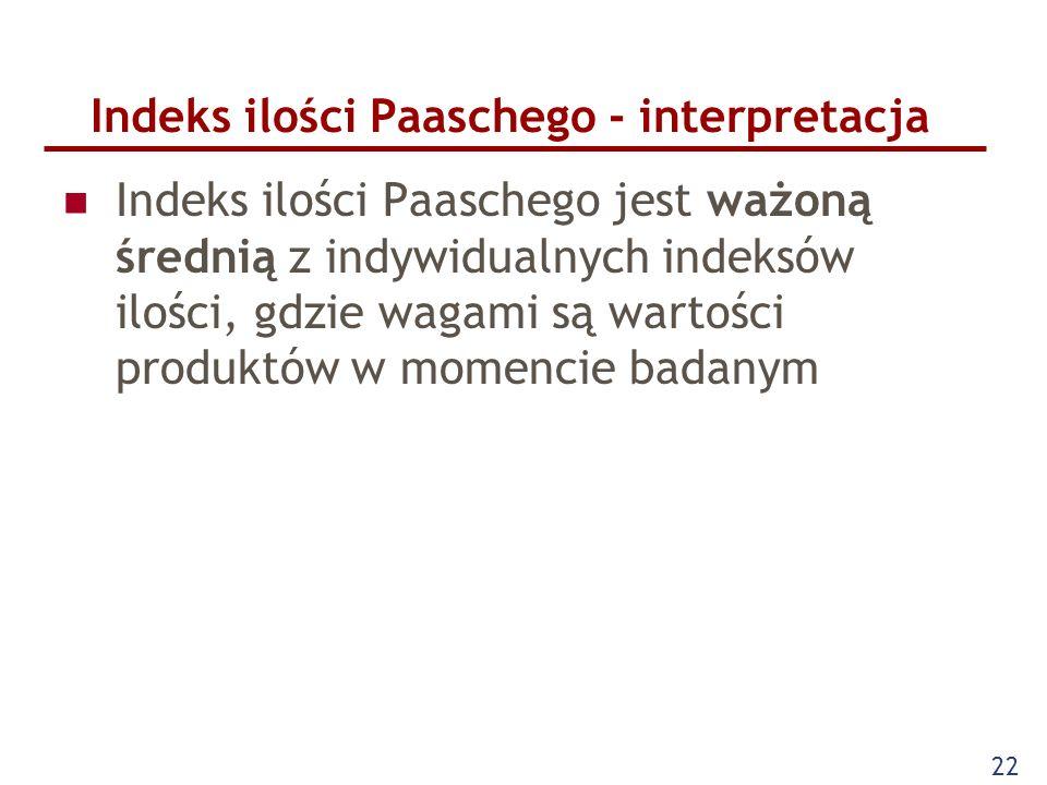 22 Indeks ilości Paaschego - interpretacja Indeks ilości Paaschego jest ważoną średnią z indywidualnych indeksów ilości, gdzie wagami są wartości prod