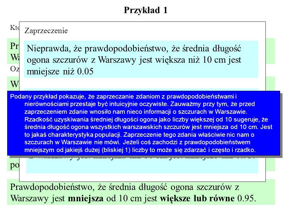Przykład 1 Prawdopodobieństwo, że średnia długość ogona szczurów z Warszawy jest większa od 10 cm jest mniejsze niż 0.05. Ktoś złowił 15 szczurów w Wa