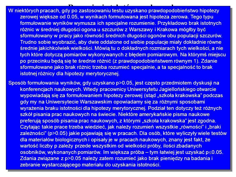 Rozumienie tekstów naukowych Wynik testu statystycznego Formułowanie zdań w wynikach prac naukowych p 0.05 Zdanie ze słowem istotne i równoważne zaprz