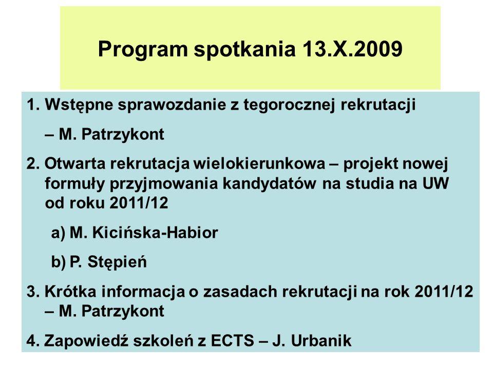 Program spotkania 13.X.2009 1.Wstępne sprawozdanie z tegorocznej rekrutacji – M. Patrzykont 2. Otwarta rekrutacja wielokierunkowa – projekt nowej form