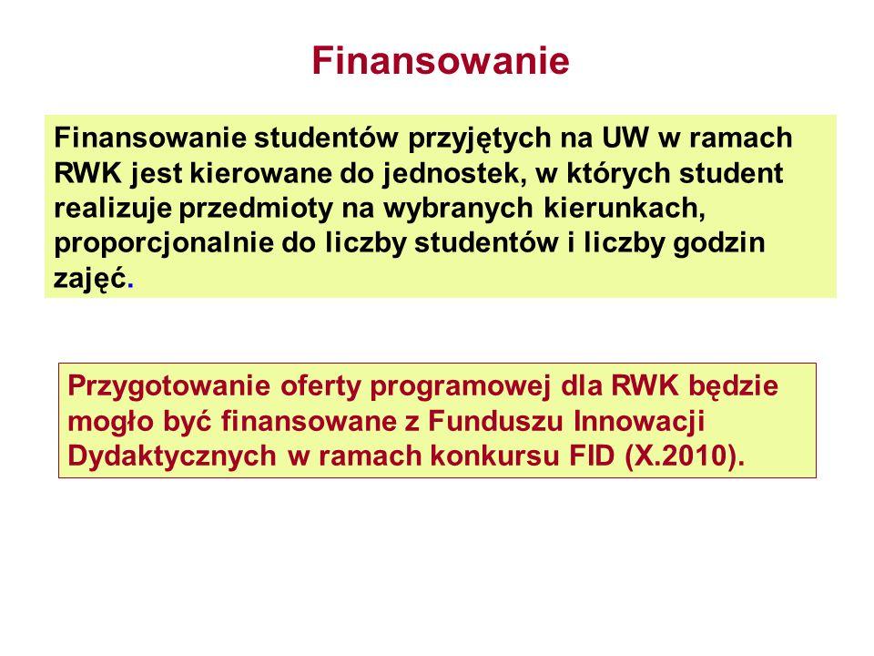 Finansowanie studentów przyjętych na UW w ramach RWK jest kierowane do jednostek, w których student realizuje przedmioty na wybranych kierunkach, prop
