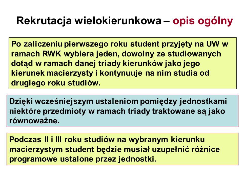 Po zaliczeniu pierwszego roku student przyjęty na UW w ramach RWK wybiera jeden, dowolny ze studiowanych dotąd w ramach danej triady kierunków jako je