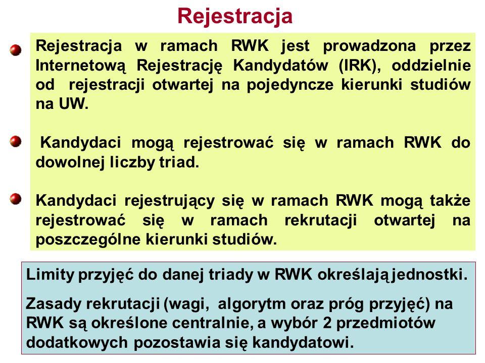 Rejestracja w ramach RWK jest prowadzona przez Internetową Rejestrację Kandydatów (IRK), oddzielnie od rejestracji otwartej na pojedyncze kierunki stu