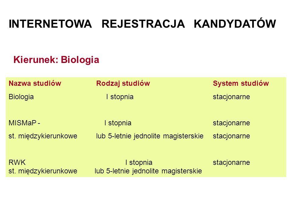 INTERNETOWA REJESTRACJA KANDYDATÓW Nazwa studiówRodzaj studiówSystem studiów Biologia I stopnia stacjonarne MISMaP- I stopnia stacjonarne st. międzyki