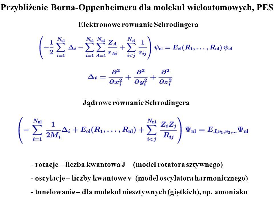 Przybliżenie Borna-Oppenheimera dla molekuł wieloatomowych, PES Elektronowe równanie Schrodingera - rotacje – liczba kwantowa J (model rotatora sztywn