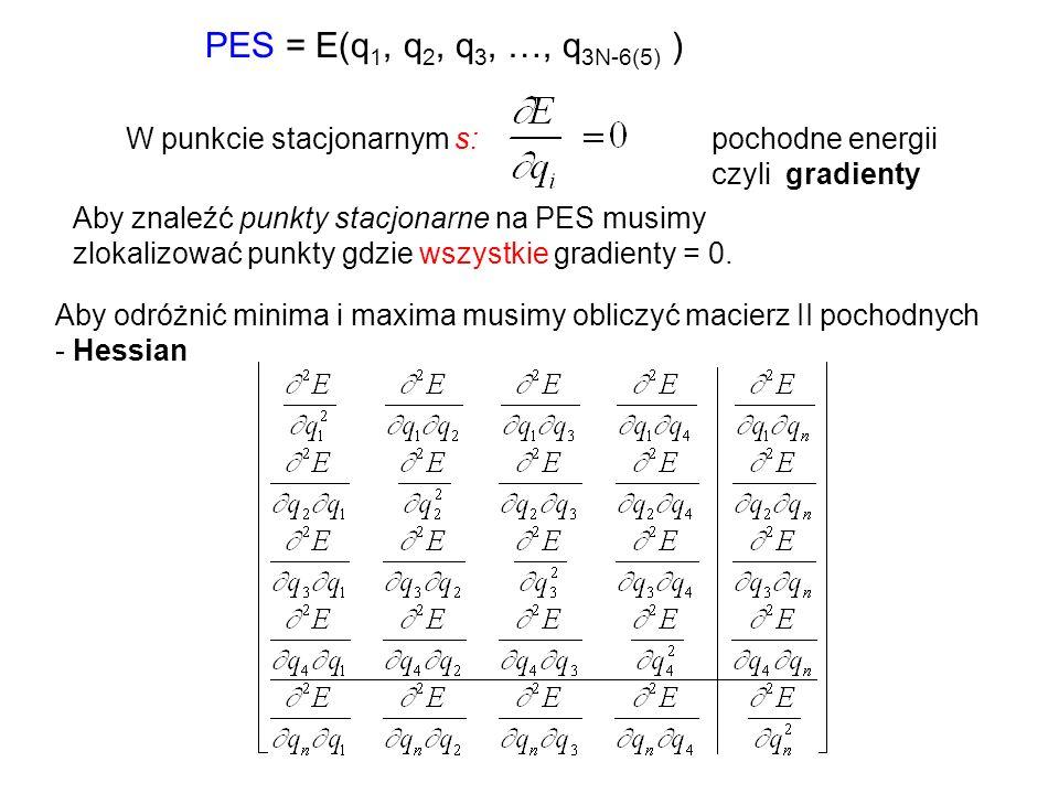PES = E(q 1, q 2, q 3, …, q 3N-6(5) ) W punkcie stacjonarnym s:pochodne energii czyli gradienty Aby znaleźć punkty stacjonarne na PES musimy zlokalizo