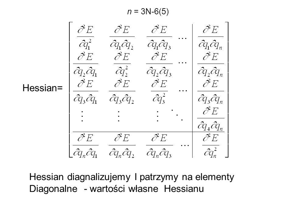 … … …..................... … Hessian= n = 3N-6(5) Hessian diagnalizujemy I patrzymy na elementy Diagonalne - wartości własne Hessianu