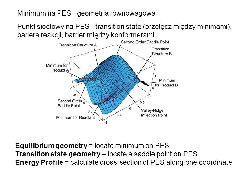 Minimum na PES - geometria równowagowa Punkt siodłowy na PES - transition state (przełęcz między minimami), bariera reakcji, barrier między konformera