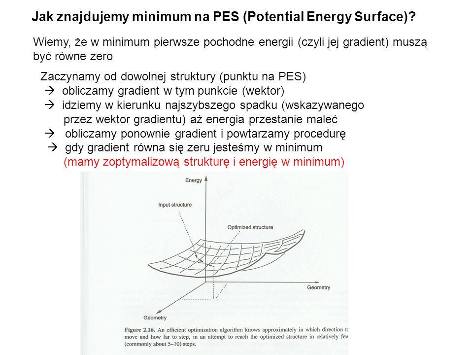 Jak znajdujemy minimum na PES (Potential Energy Surface)? Wiemy, że w minimum pierwsze pochodne energii (czyli jej gradient) muszą być równe zero Zacz