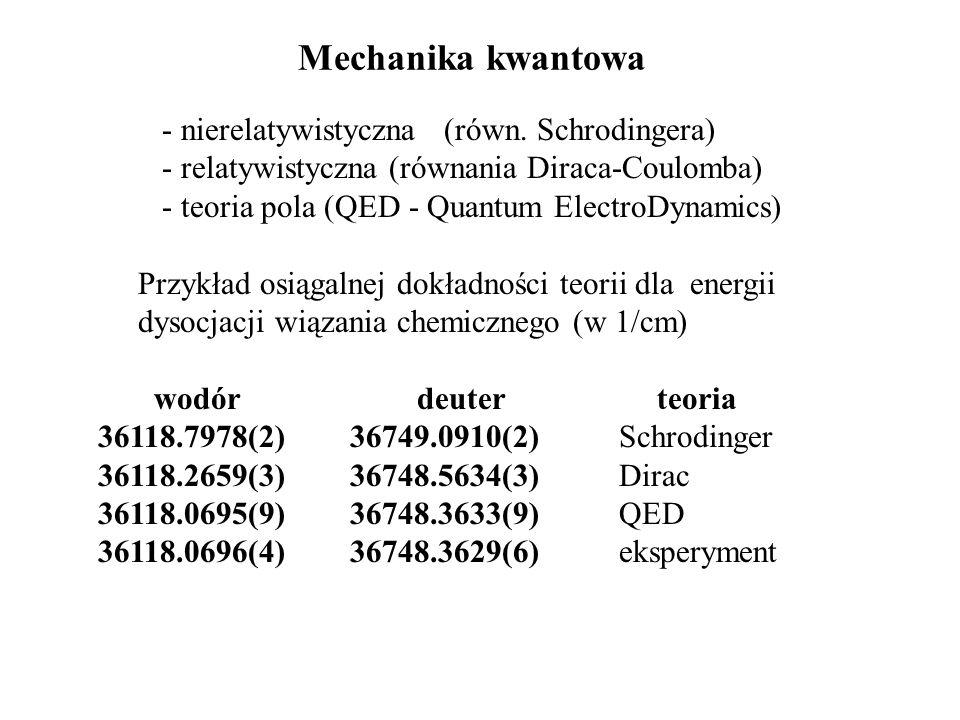 Mechanika kwantowa - nierelatywistyczna (równ. Schrodingera) - relatywistyczna (równania Diraca-Coulomba) - teoria pola (QED - Quantum ElectroDynamics