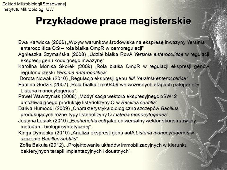 Ewa Karwicka (2006) Wpływ warunków środowiska na ekspresę inwazyny Yersinia enterocolitica O:9 – rola białka OmpR w osmoregulacji Agnieszka Szymańska