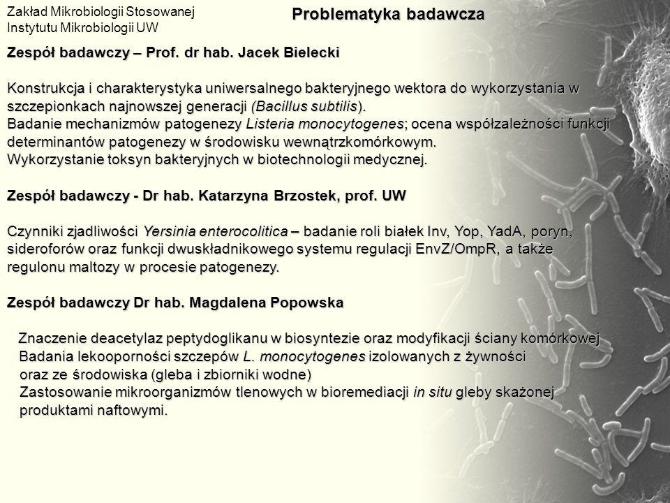 Zespół badawczy – Prof. dr hab. Jacek Bielecki Konstrukcja i charakterystyka uniwersalnego bakteryjnego wektora do wykorzystania w szczepionkach najno