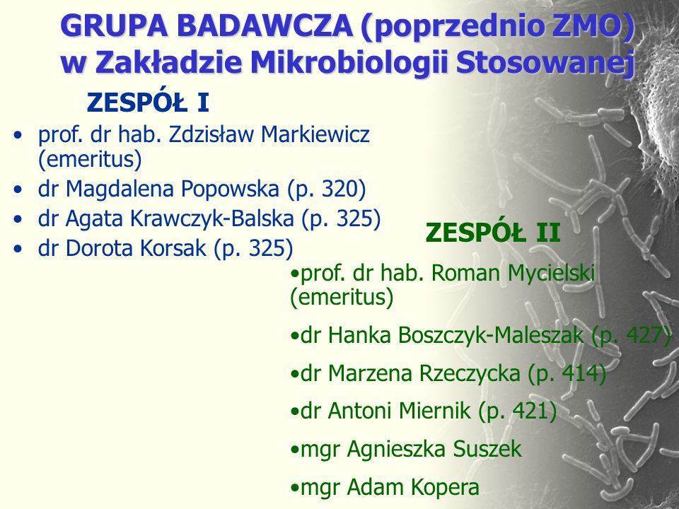 ZESPÓŁ I prof. dr hab. Zdzisław Markiewicz (emeritus) dr Magdalena Popowska (p. 320) dr Agata Krawczyk-Balska (p. 325) dr Dorota Korsak (p. 325) GRUPA