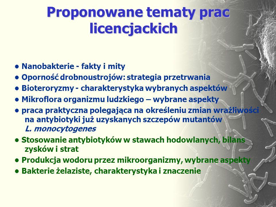 Proponowane tematy prac licencjackich Proponowane tematy prac licencjackich Nanobakterie - fakty i mity Oporność drobnoustrojów: strategia przetrwania